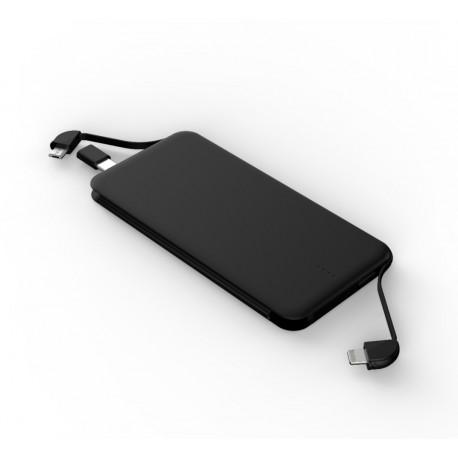Acumulator extern POWERZILLA PZ07K - 6000 mAh Power Bank cablu MircoUsb/Apple atasat si adaptor USB Tipe C, Universal Powerbank