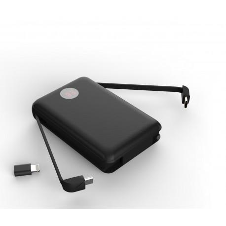 Acumulator extern POWERZILLA PZ08K, 11000mAh, USB, powerbank,cabluri atasate -USB Tipe C, micro USB, adaptor Lightning